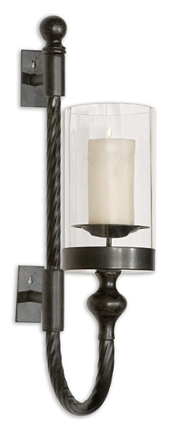 separation shoes 38133 625b0 Intelligent Design Colonial Black Iron Wall Sconce | Twisted Metal  Hurricane Candle Holder