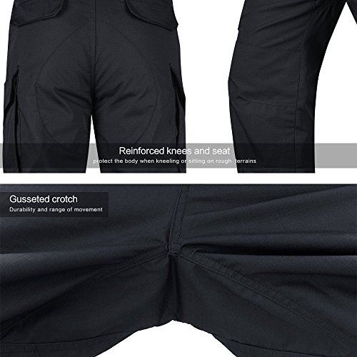 HARD LAND Men's Tactical Pants Waterproof Ripstop Cargo Work Pants with Elastic Waist for Hiking Hunting Fishing Size44W×32L Charcoal Grey by HARD LAND (Image #5)