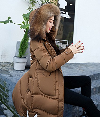 Hood Coat Fur Linea Quilted Parkas Comvip Plus Size Una Caffè Faux Donna Spessa II8Pqzw