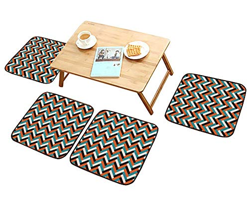Home Chair Set Seamless Abstract Geometric Tile mid Century Style Machine-Washable W21.5 x L21.5/4PCS Set (Molded Foam Back Mid)