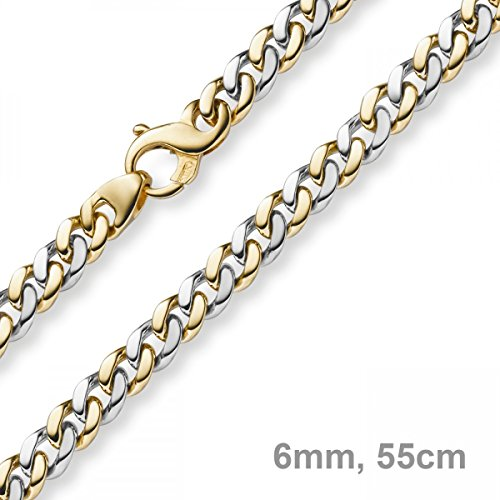 6mm Chaîne gourmette Collier ovale en or jaune 585or blanc bicolore 55cm