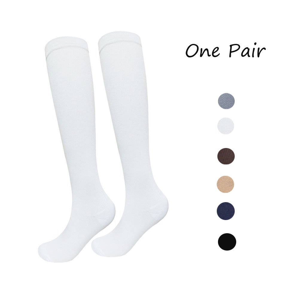 1 Pair Knee High Graduated Compression Socks For Women and Men - 15-20mmHg - Best Medical, Nursing, Travel & Flight Socks - Running & Fitness White) 1BSDH