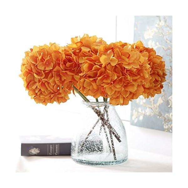 YSBER 3 Big Heads Artificial Hydrangea Silk Fake Flowers Bunch Bouquet Home Hotel Wedding Party Centerpieces Garden Floral Decor(Orange)
