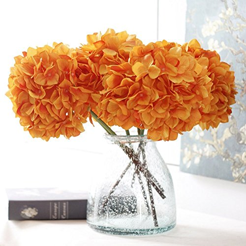 YSBER 3 Big Heads Artificial Hydrangea Silk Fake Flowers Bunch Bouquet Home Hotel Wedding Party Centerpieces Garden Floral Decor(Orange)