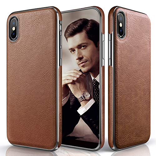 LOHASIC for iPhone Xs Max Case, Premium Leather Slim Luxury Flexible Hybrid Defender Anti-Slip Soft Grip Scratch Resistant Protective Cover Cases Compatible with iPhone Xs Max (2018) 6.5 inch - Brown