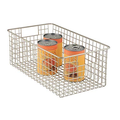 InterDesign Classico Metal Wire Storage Organizer Bin with Handles, Container for Bathroom, Bedroom, Pantry, Kitchen, Closet, 16