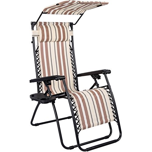 Toucan Outdoor Zero Gravity Lounge Chair with Canopy Sunshade and Drink Tray (Textilene Recliner Chair)