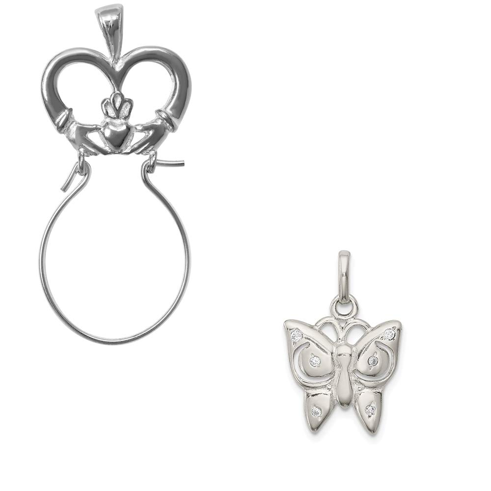 Mireval Sterling Silver and CZ Polished Cross Charm on an Optional Charm Holder