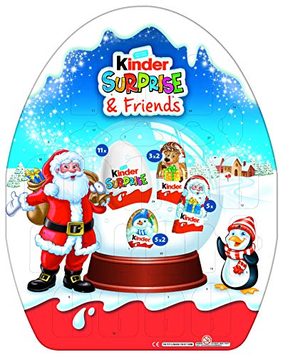 kinder Advent calendar with 24 children's specialties, 4 assorted. Incl. Plush hat and 5 of 8 collectible figures with hanging function 431 g
