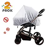 [2 Pack] Baby Mosquito Nets for Strollers - Carriers - Car Seats - Cradles - Fits Most PacknPlays - Cribs - Bassinets & Playpens - Soft Durable Insect Shield Netting - Babies Fly Screen Protection (White)
