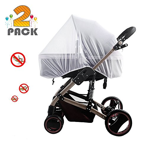 [2 pack] baby mosquito nets for strollers, carriers, car seats, cradles, fits most packnplays, cribs, bassinets & playpens, soft durable insect shield netting, babies fly screen protection (white)