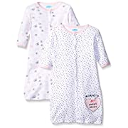 Bon Bebe Girls' Assorted 2 Pack Wearable Blanket, Pink hearts/Butterflies, 0-6 Months