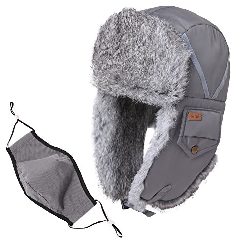 Siggi Trapper Hat Rabbit Fur Aviator Hat With Ear Flaps Russian Winter Cold Weather Hat Windproof With Mask Men Women Grey Gray