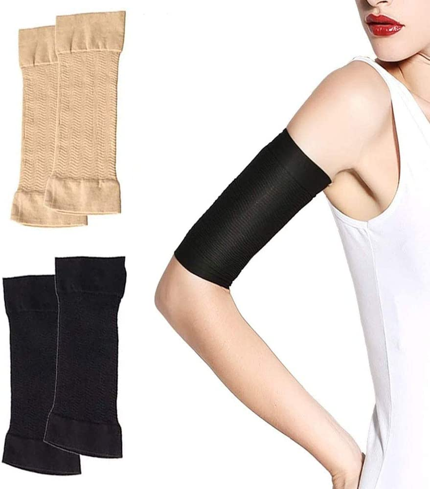 2 Pairs Arm Slimming Shaper Arm Compression Wrap Sleeve for Women Weight Loss Upper Arm Shaper Helps Lose Arm Fat Toneup Arm Shaping Sleeves for Beauty Women (Black+Beige): Health & Personal Care