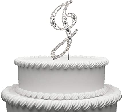 "Large Rhinestone Crystal Monogram Letter /""I/"" Wedding Cake Topper 5/""inch High"