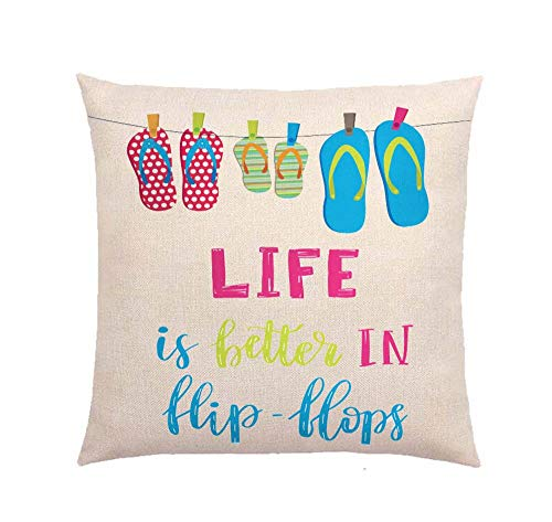 YBDXHA Life is Better in flip flopsThrow Pillow Case Cushion Cover Home Sofa Decorative 18 X 18 Inch ()