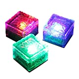 Color Changing LED Frosted Glass Solar Brick Light Garden Decoration Ice Cube Pathway Light for Lawns Ground Decor Buried Lights, 1 Piece(Multi-color)