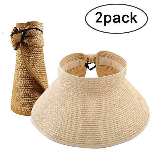 (Womens Summer Foldable Wide Brim Sun Visor, Roll Up Beach Straw Hat with Cute Bowtie)