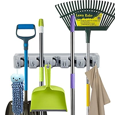 Newdora Mop Broom Holder Broom Organizer Key Rack Towel Hooks 5 Non-slip with 6 Hooks Wall Closet Mounted Organizer Brooms Mops Rakes Garage Storage Organization Systems