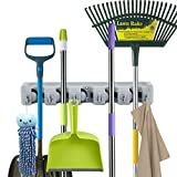 #1: Newdora Mop Broom Holder Broom Organizer Key Rack Towel Hooks 5 Non-slip with 6 Hooks Wall Closet Mounted Organizer Brooms Mops Rakes Garage Storage Organization Systems