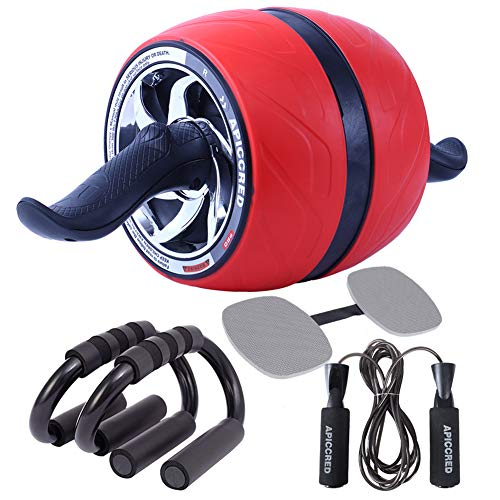 APICCRED Ab Roller Wheel with Ergonomic Grip and Multiple Angles Abdominal Exercise Wheel with Push Up Bars, Adjustable Jump Rope and Knee Pad for Core Strength Training Home Fitness Workouts