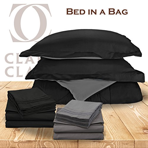 Clara Clark 11-Piece Bed In A Bag, Full, Reversible Black / Gray Comforter with Coordinating Black & Gray 1800 Bed Sheets