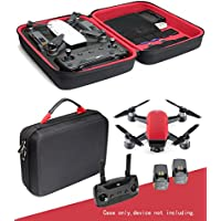 Upgraded Protective Case for DJI Spark Mini Quadcopter Drone, Remote Controller Slot, Smart panel with pockets for USB, Cable, Micro SD Cards and propellers and charger base (Black+Red)
