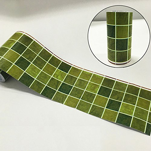 Yifely Green Mosaic Grid Wallpaper Border Self Adhesive Wall Decor Sticker for Home Bar