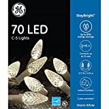 GE StayBright 70-Count 17.25-ft Constant Warm White C5 LED Plug-In Indoor/Outdoor Christmas String Lights ENERGY STAR