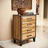 Christopher Knight Home Luna Acacia Wood Natural Stain Finished with Metal Corner and Legs Accents 4-drawer Chest Dresser (36 Inches High X 26 Inches Wide X 15.25 Inches Deep)