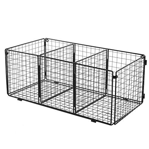Basket Hanging Square - 3 Compartment Wall Mountable Metal Wire Mesh Organizing Storage Basket, Black