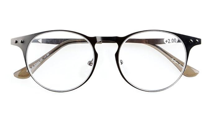 Eyekepper 5-pack Quality Metal Round Frame cerniera a molla Templi Occhiali da lettura Include Sun occhiali Lettori Computer +1.0 dwCRABFEuU