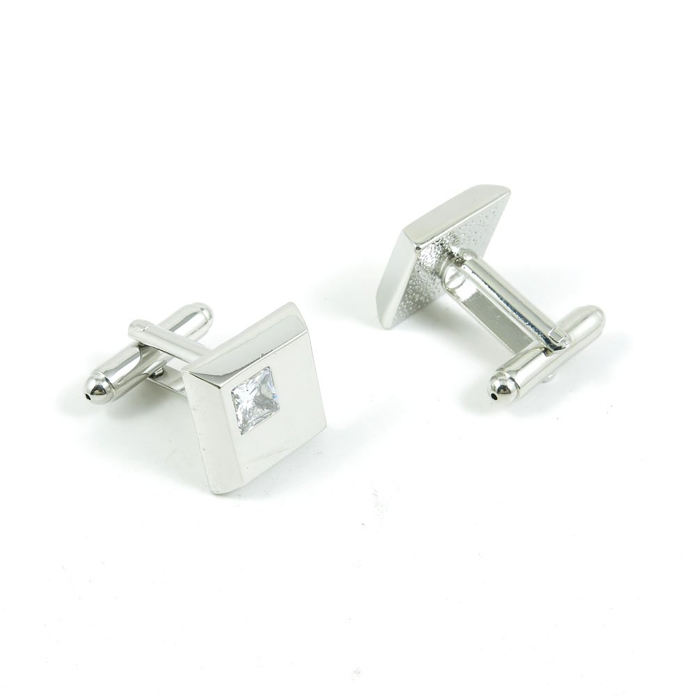 50 Pairs Cufflinks Cuff Links Fashion Mens Boys Jewelry Wedding Party Favors Gift XBW016 White Zircon Silver Square