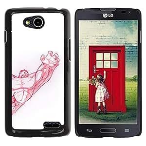 YOYOYO Smartphone Protección Defender Duro Negro Funda Imagen Diseño Carcasa Tapa Case Skin Cover Para LG OPTIMUS L90 D415 - culturismo muscular fuerza del brazo rojo