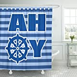 """Emvency 72""""x78"""" Shower Curtain Waterproof Home Decor Nursery Wall Room Ahoy With Nautical Wheel On Blue Striped For Pirate Party Decal Picture Print Polyester Fabric Adjustable Hook"""