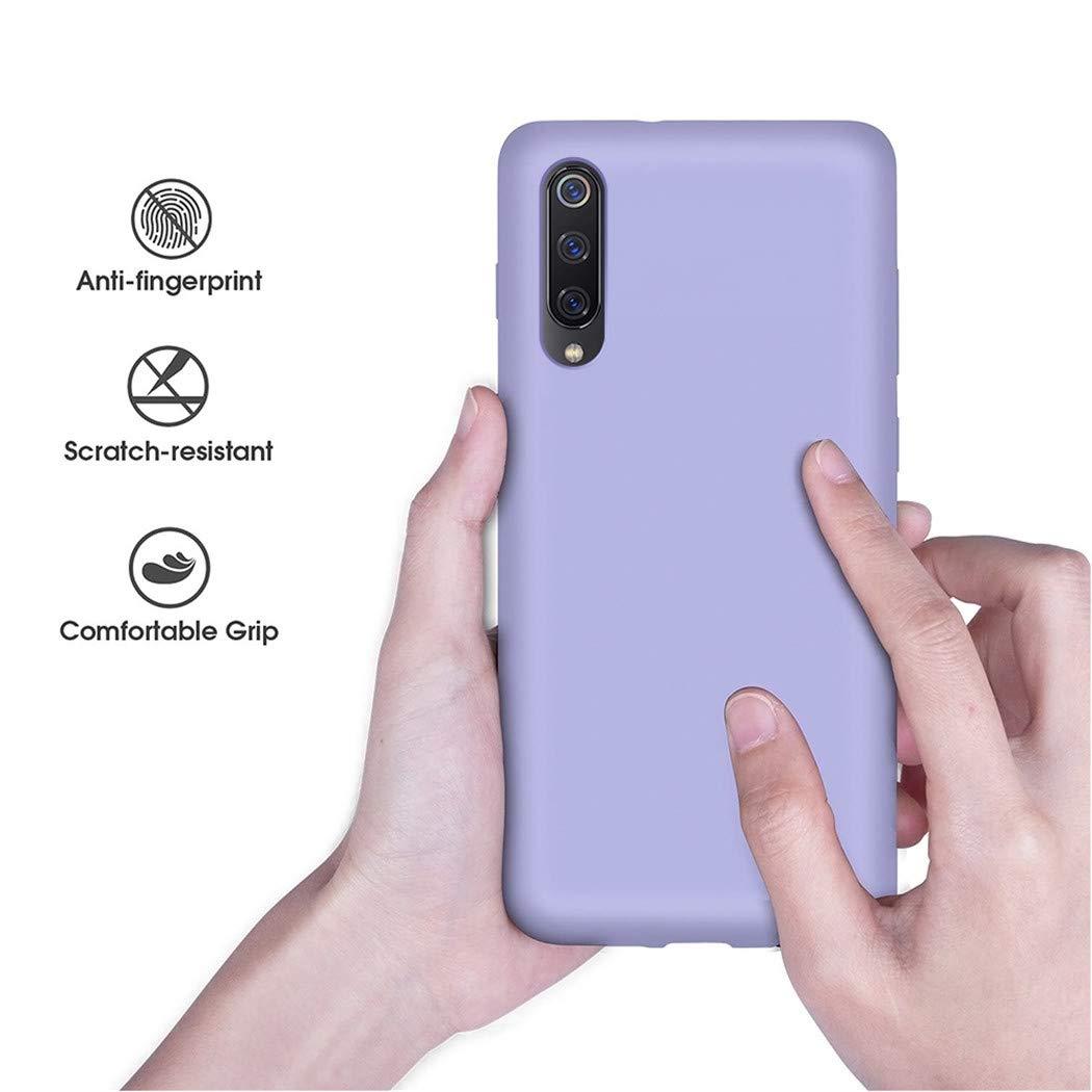 P/úrpura Silicona Gel Caso Cover Case para Xiaomi 9 HUOTAI Funda para Xiaomi 9 L/íquido de Silicona Carcasa Anti-Huella Digital Suave Almohadilla Forro Tela Microfibra