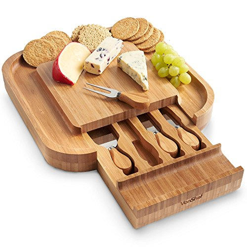 Square Slide - VonShef Square Slide Out Bamboo Cheese Board and 4 Piece Knife Set, 13 x 13 inches