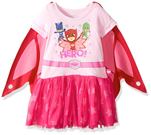 PJ Masks Girls' Little Dress W/Tulle and Wing Cape, Pink, 2T -