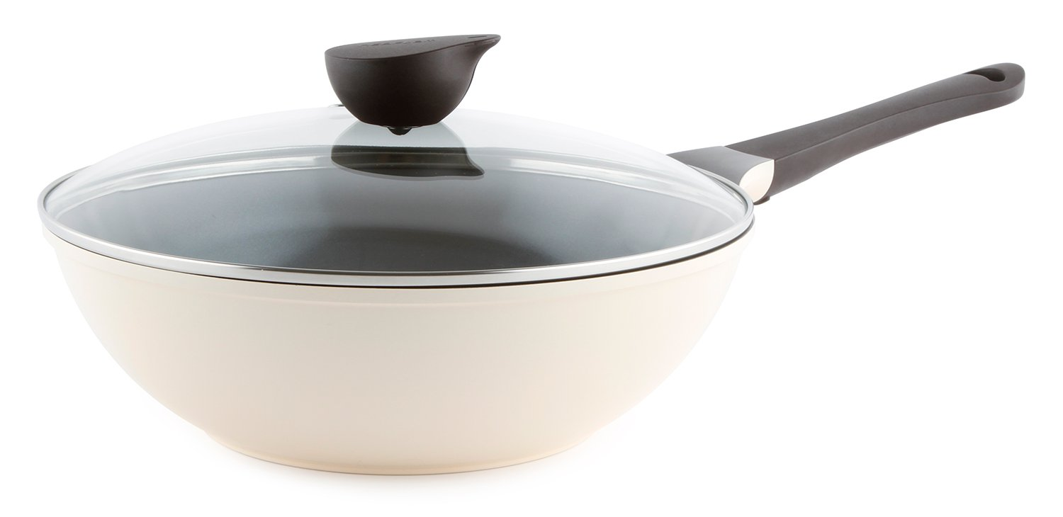 Wok (Chef's Pan) with Glass Lid - 12-inch Ceramic Nonstick in Ivory by Neoflam