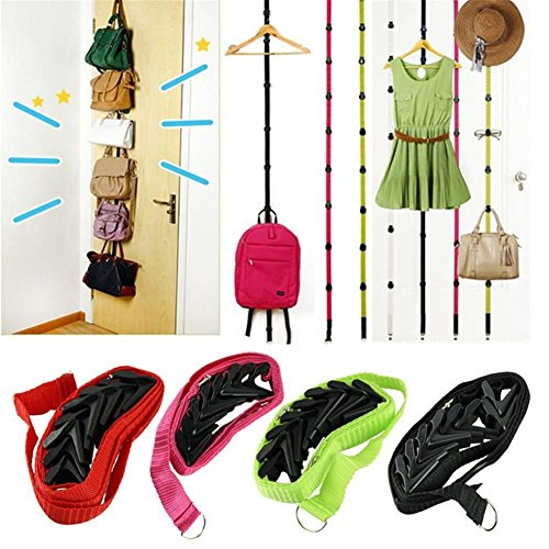 Baifeng Multifunction Straps Hooks Hanger, Adjustable Over Door Hanger, Hat Bag Clothes Hanging Rack,Home Storage Holder Stand, Organizer 8 Hooks - 195cm Length, Multicolor