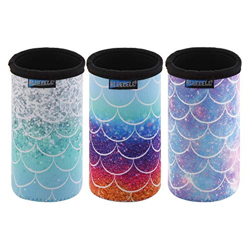 Bluecell Pack of 3 Neoprene Insulators Fish-Scale Pattern Can Sleeves Beer Coolies Fit for 12oz Slim Drink Beer Cans