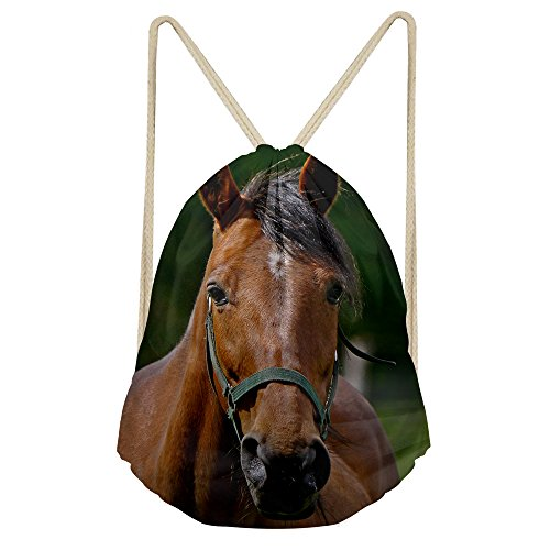 (Cute Horse Treat Bags Drawstring Lightweight Personalized Plain Child Backpack)