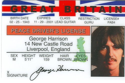 Harrison Card - George Harrison - Beatles - Collector Card