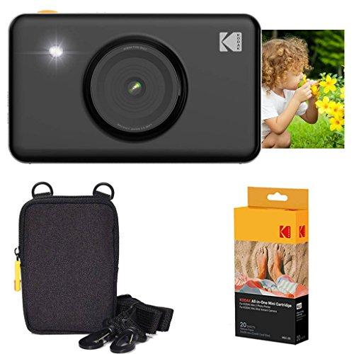 Kodak Mini Shot Instant Camera (Black) Basic Bundle + Paper (20 Sheets) + Deluxe Case