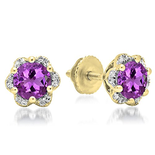 14K Yellow Gold 6 MM Round Amethyst & White Diamond Ladies Flower Shape Cluster Stud Earrings (14k Amethyst Flower)