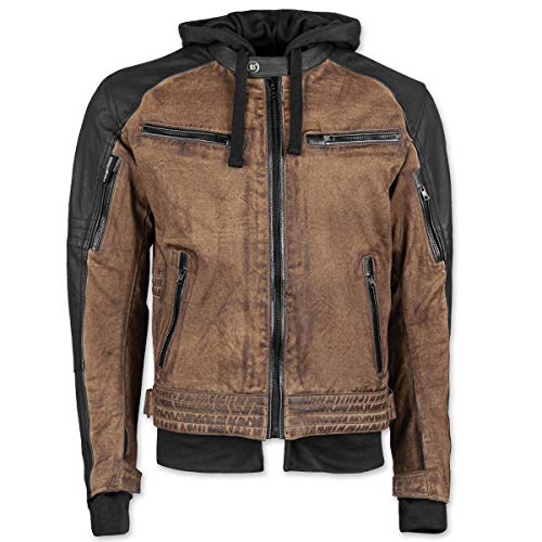 Speed and Strength Straight Savage Leather-Canvas Men's Street Motorcycle Jacket - Brown/Black / Large ()