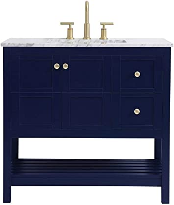 Amazon Com Elegant Decor 36 Inch Single Bathroom Vanity In Blue Furniture Decor