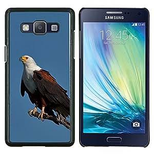 KLONGSHOP // Cubierta de piel con cierre a presión Shell trasero duro de goma Protección Caso - águila plumas de ave azul negro americano - Samsung Galaxy A5 A5000 //