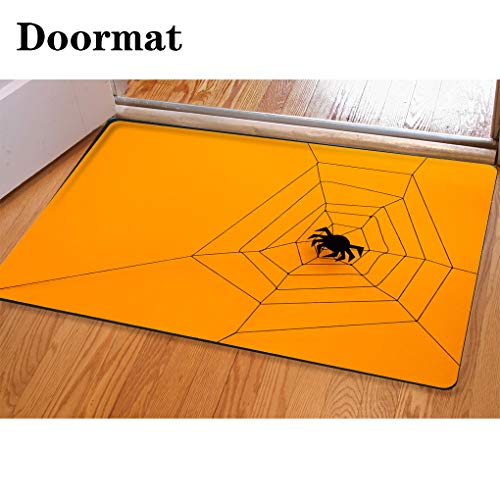 3D Printing and Dyeing,Bathroom Carpet, Door mat,Black Paper Spider with Web on Yellow Background Halloween Concept Paper Cut Style Top View Flannel Foam Shower mat, Absorbent Kitchen Door Carpet