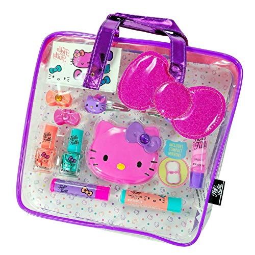 Hello Kitty Cosmetic Set - GBG Beauty Sanrio Hello Kitty Girls Cosmetics Tote Bag Gift Set Lip Gloss Compact Mirror
